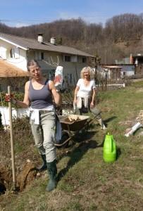 Eva Marie og Heike tydder buskas